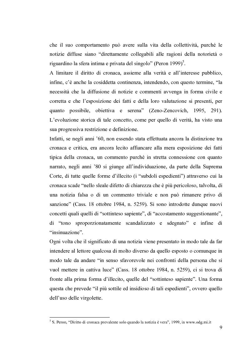 Anteprima della tesi: La diffamazione a mezzo stampa. Problemi e prospettive legislative, Pagina 11