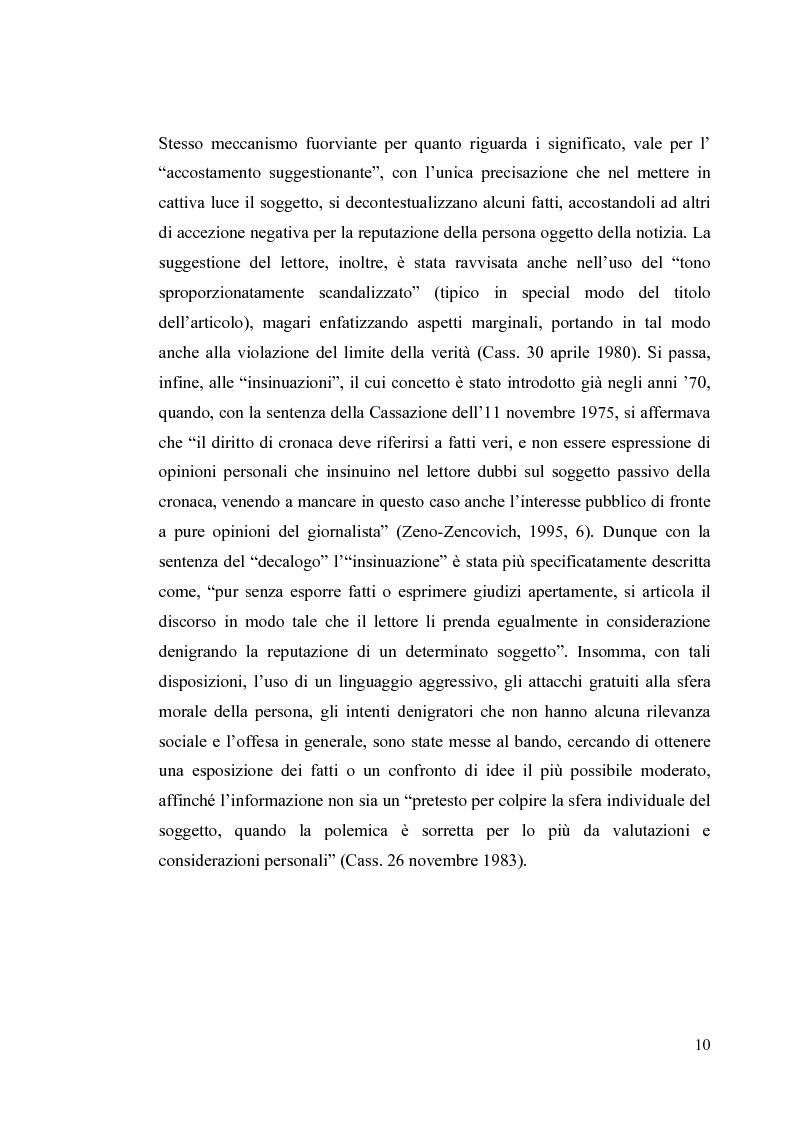 Anteprima della tesi: La diffamazione a mezzo stampa. Problemi e prospettive legislative, Pagina 12
