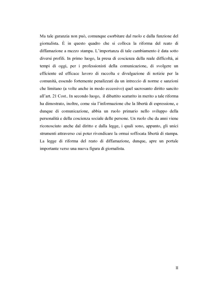 Anteprima della tesi: La diffamazione a mezzo stampa. Problemi e prospettive legislative, Pagina 2