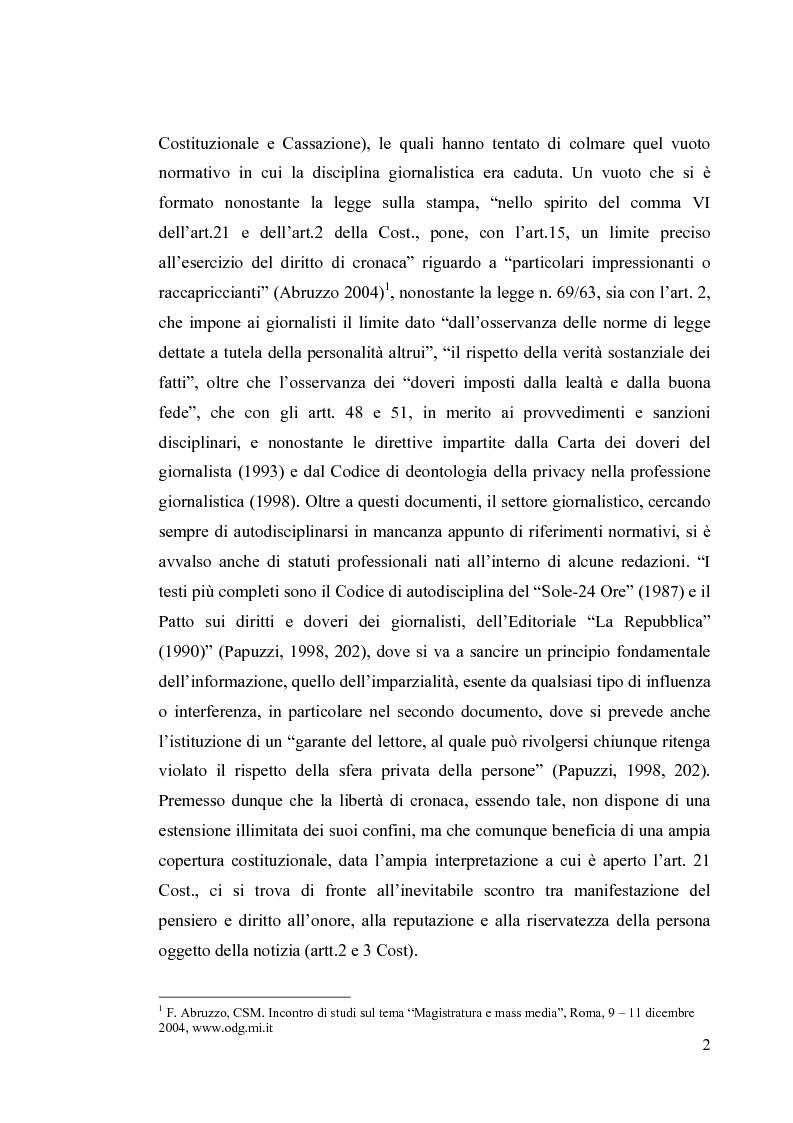 Anteprima della tesi: La diffamazione a mezzo stampa. Problemi e prospettive legislative, Pagina 4