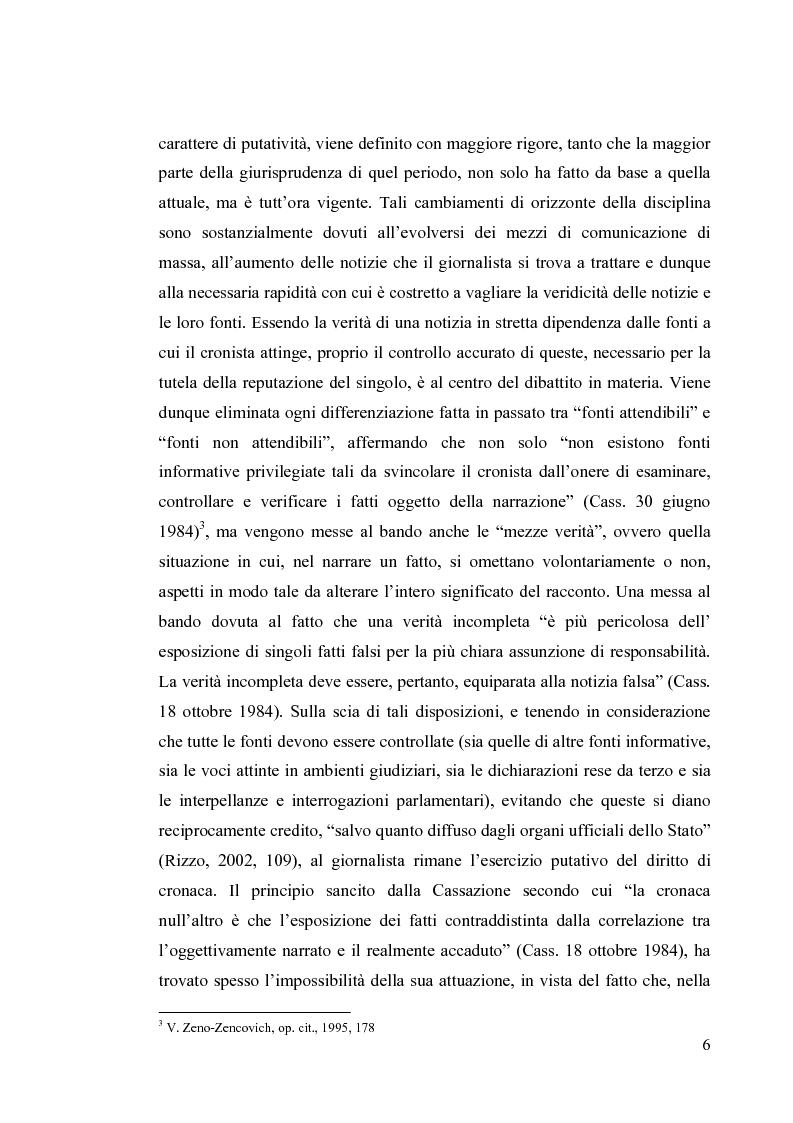 Anteprima della tesi: La diffamazione a mezzo stampa. Problemi e prospettive legislative, Pagina 8