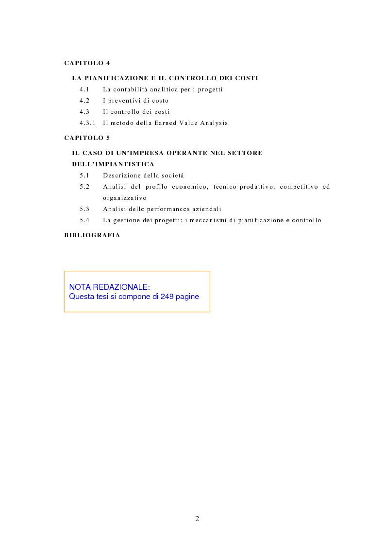 Indice della tesi: La pianificazione e il controllo dei grandi progetti. Il caso di un'impresa operante nel settore dell'impiantistica., Pagina 2