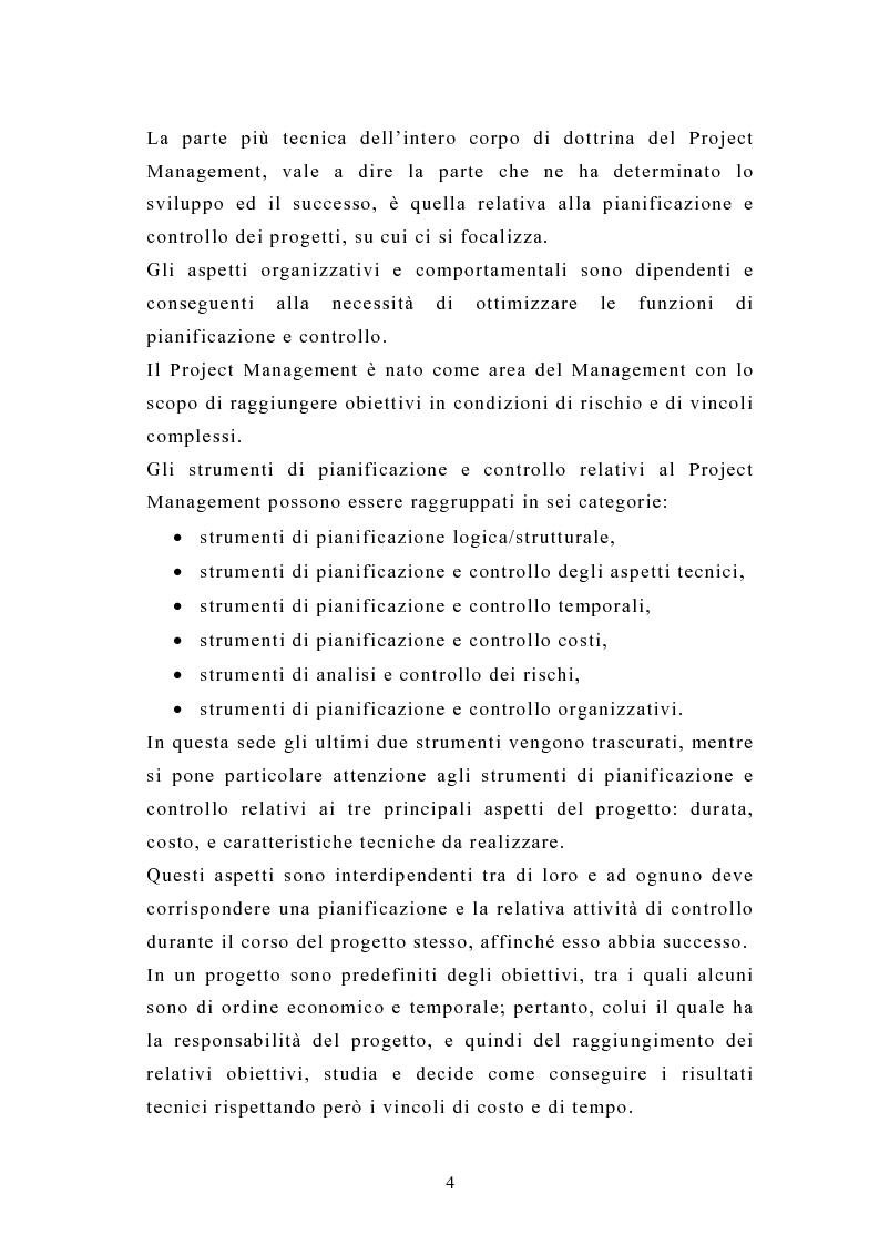 Anteprima della tesi: La pianificazione e il controllo dei grandi progetti. Il caso di un'impresa operante nel settore dell'impiantistica., Pagina 2