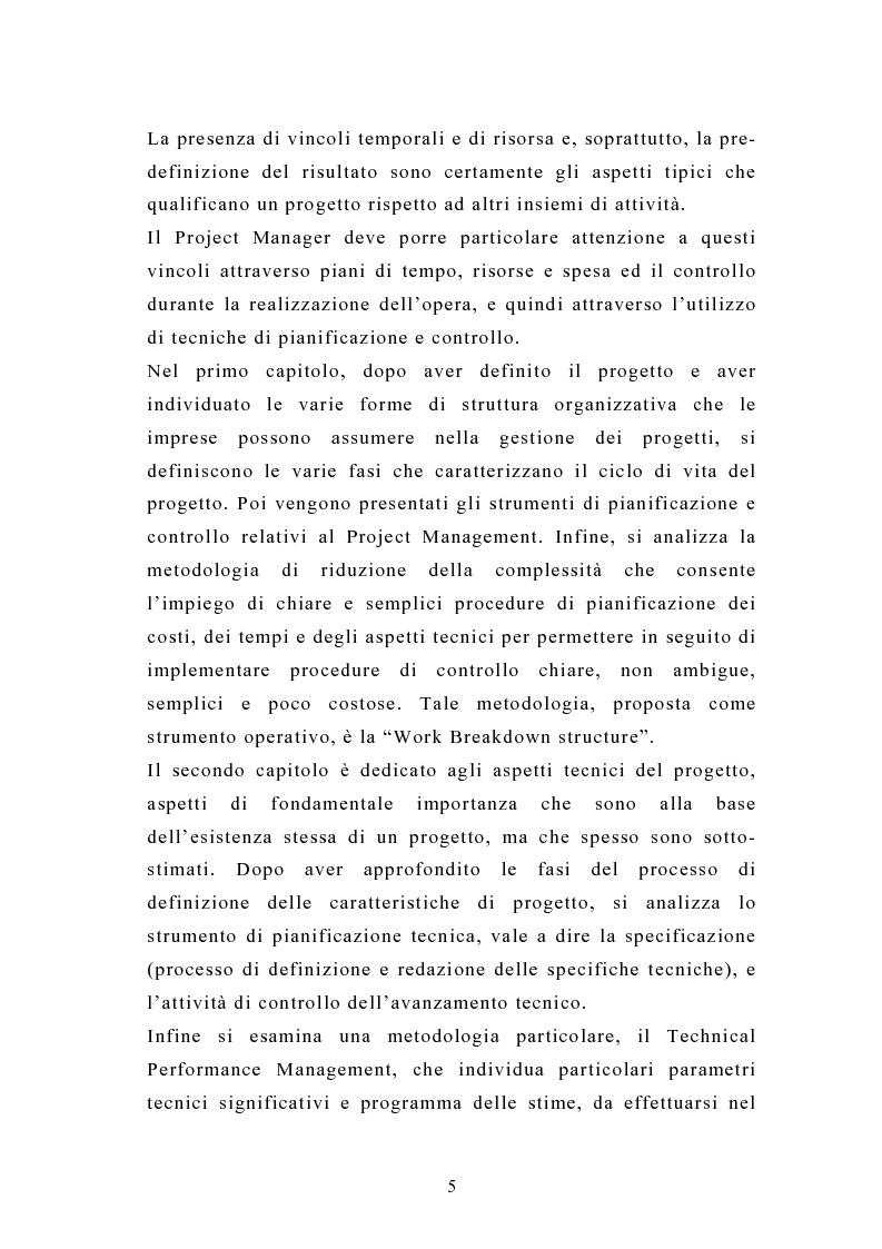 Anteprima della tesi: La pianificazione e il controllo dei grandi progetti. Il caso di un'impresa operante nel settore dell'impiantistica., Pagina 3