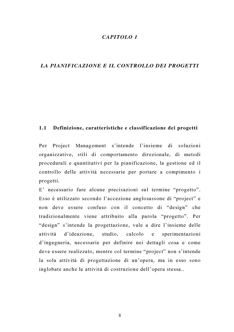 Anteprima della tesi: La pianificazione e il controllo dei grandi progetti. Il caso di un'impresa operante nel settore dell'impiantistica., Pagina 6