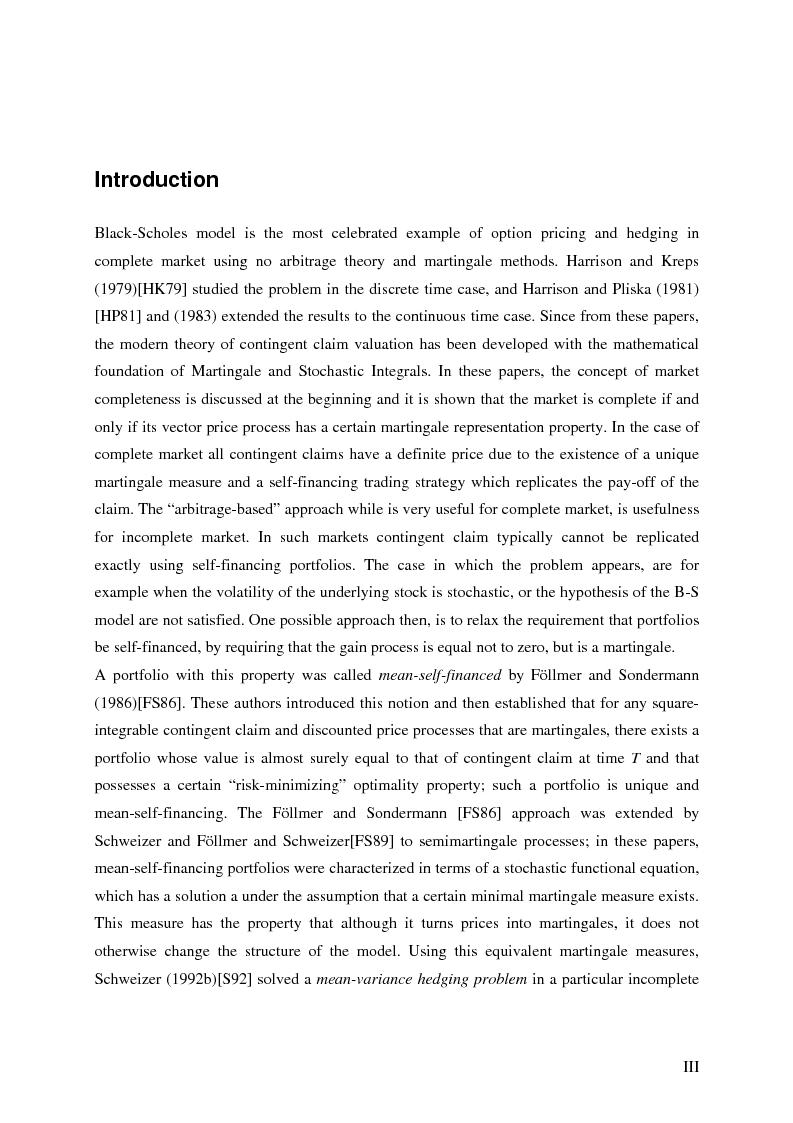 Anteprima della tesi: Valuation in Incomplete Markets, Pagina 1