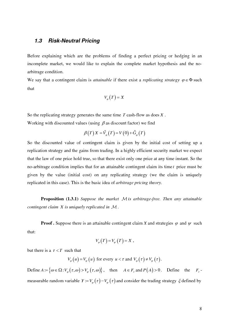 Anteprima della tesi: Valuation in Incomplete Markets, Pagina 10