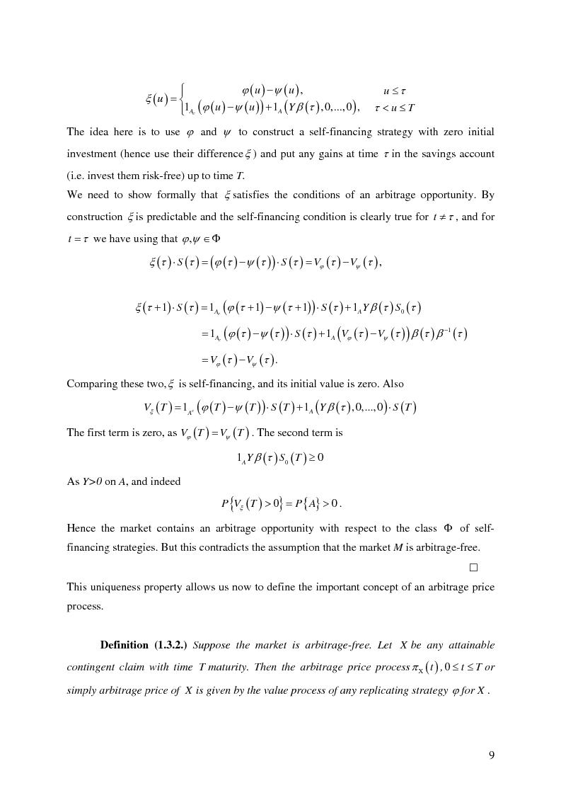Anteprima della tesi: Valuation in Incomplete Markets, Pagina 11