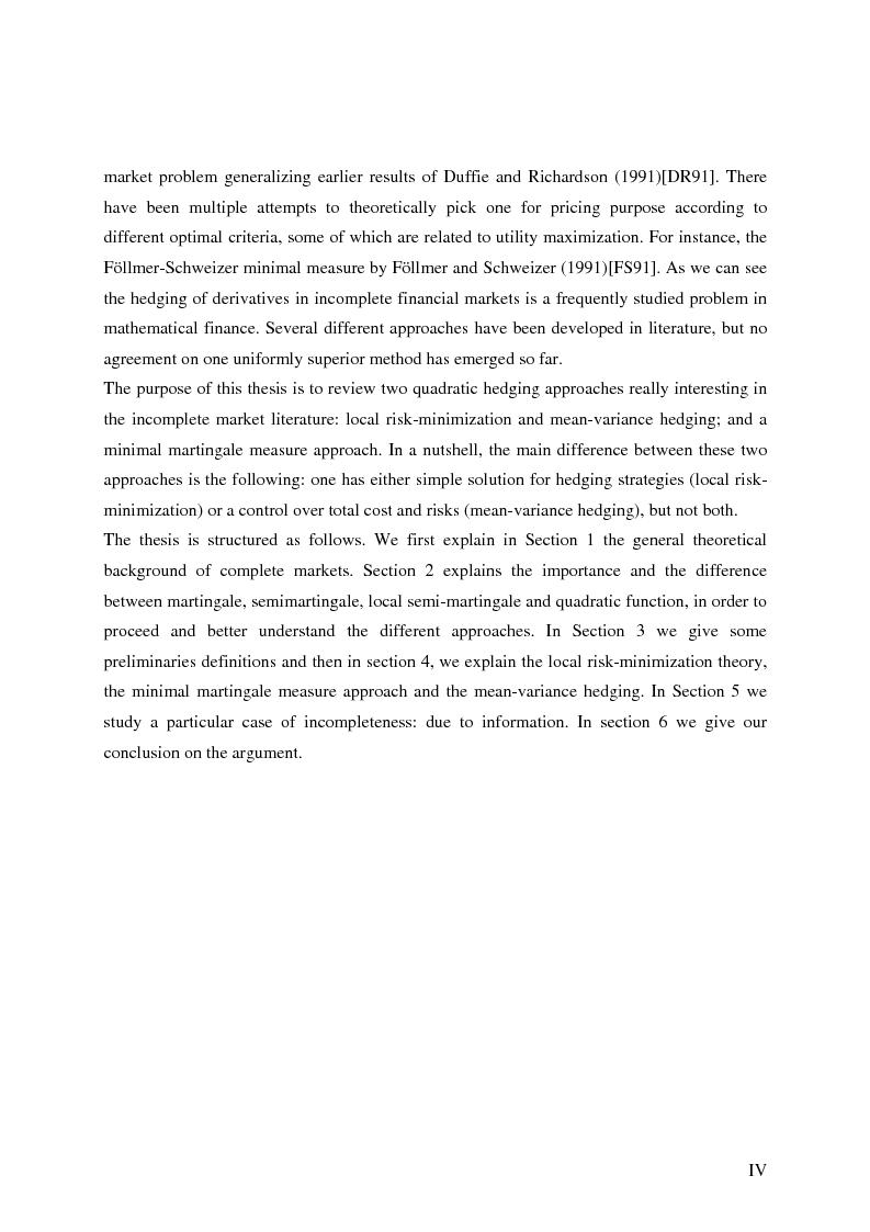 Anteprima della tesi: Valuation in Incomplete Markets, Pagina 2