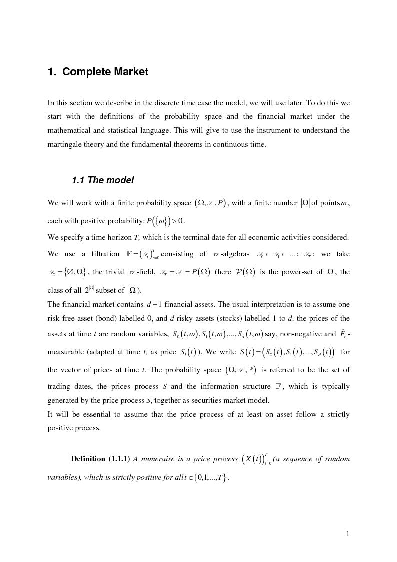 Anteprima della tesi: Valuation in Incomplete Markets, Pagina 3