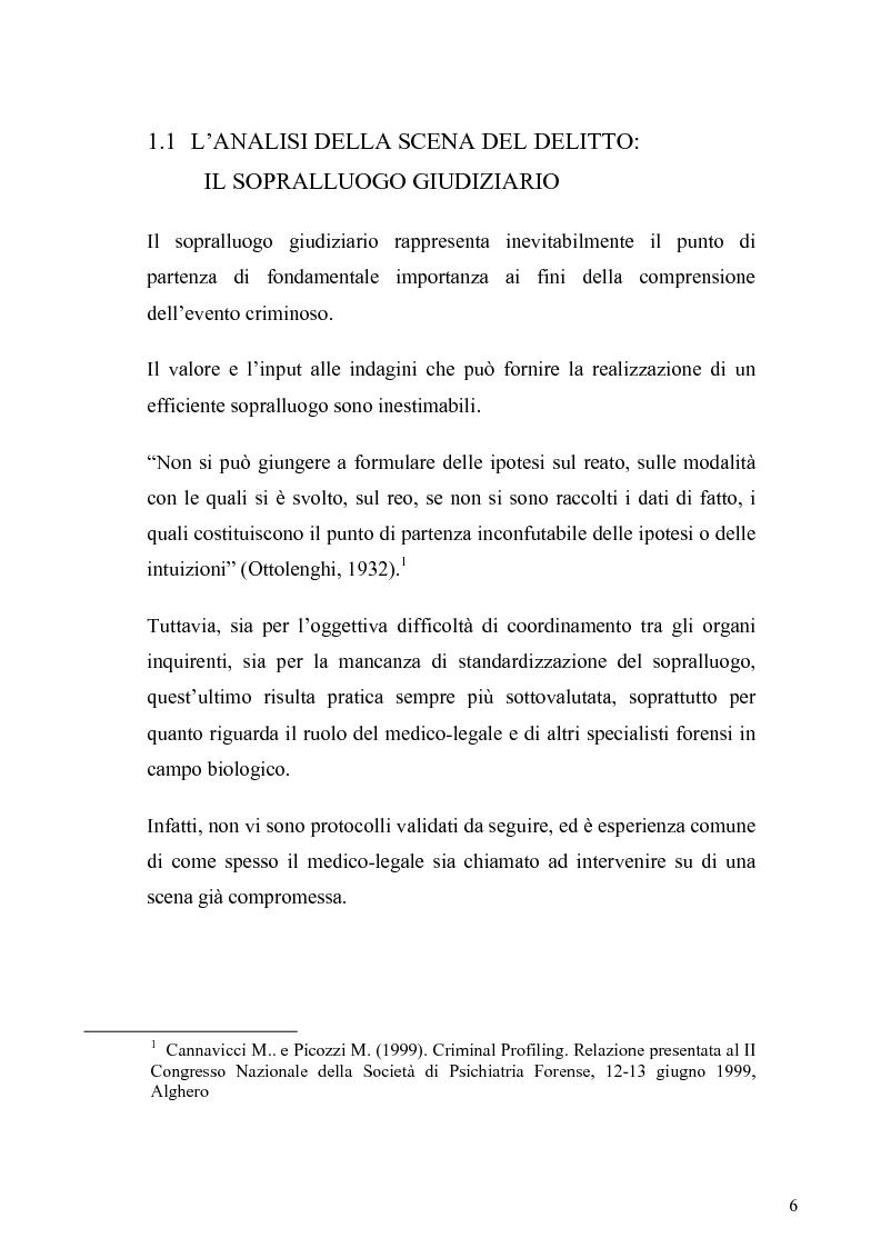 Anteprima della tesi: Dall'analisi della scena del delitto al profilo psicologico del criminale, Pagina 3
