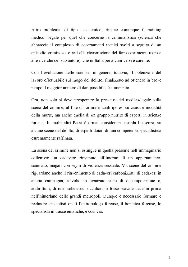 Anteprima della tesi: Dall'analisi della scena del delitto al profilo psicologico del criminale, Pagina 4