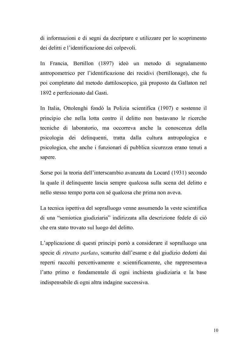 Anteprima della tesi: Dall'analisi della scena del delitto al profilo psicologico del criminale, Pagina 7