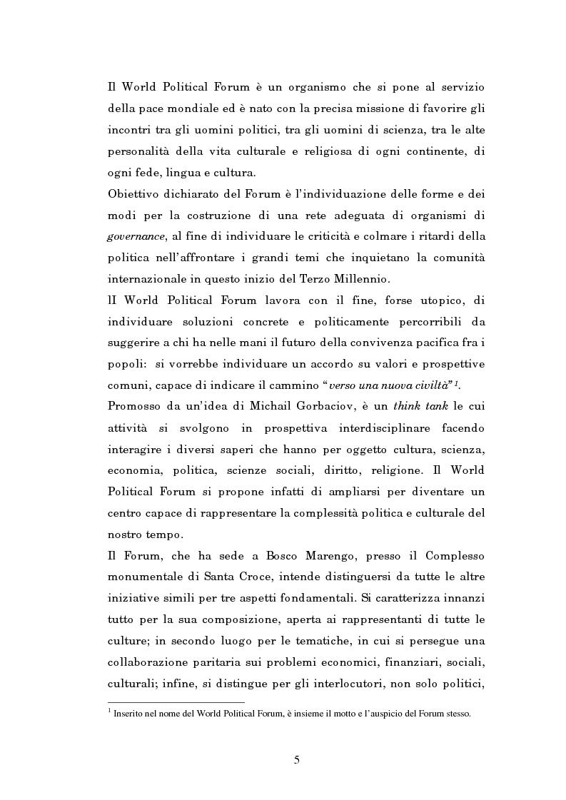 Anteprima della tesi: Il mondo intellettuale al servizio dell'ordine internazionale: The World Political Forum, Pagina 1