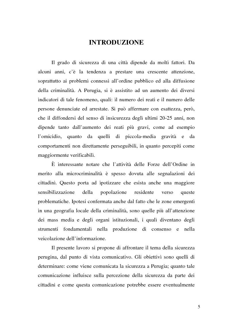Anteprima della tesi: Comunicare la sicurezza a Perugia, Pagina 1