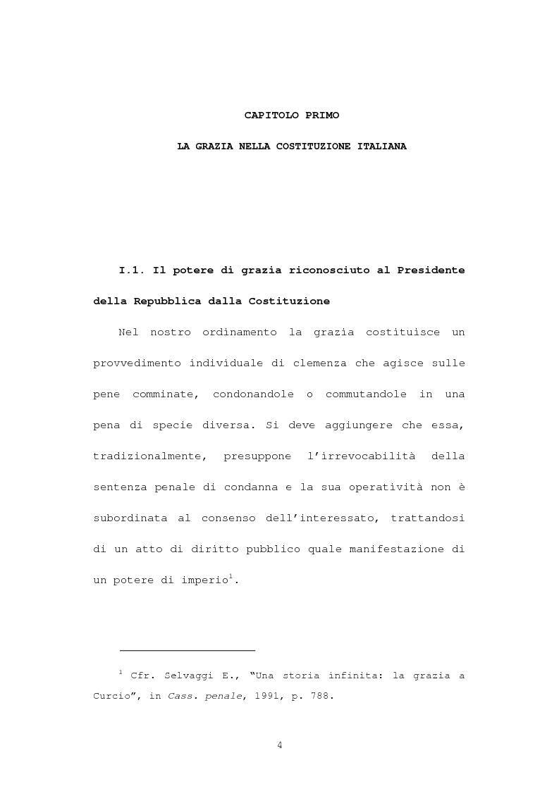 Anteprima della tesi: La grazia: potere presidenziale e controfirma ministeriale, Pagina 1