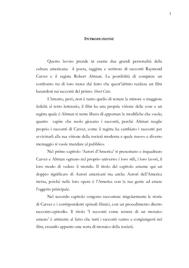 Anteprima della tesi: Dalle parole alle immagini: Robert Altman interpreta Raymond Carver, Pagina 1