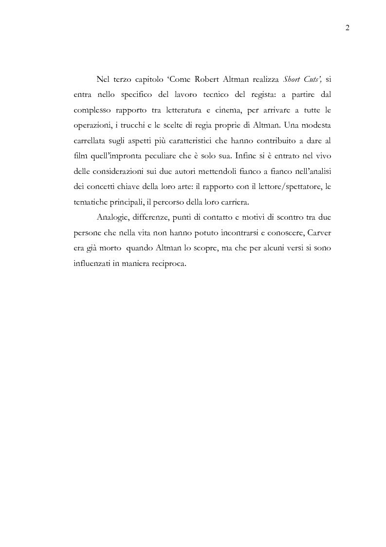 Anteprima della tesi: Dalle parole alle immagini: Robert Altman interpreta Raymond Carver, Pagina 2