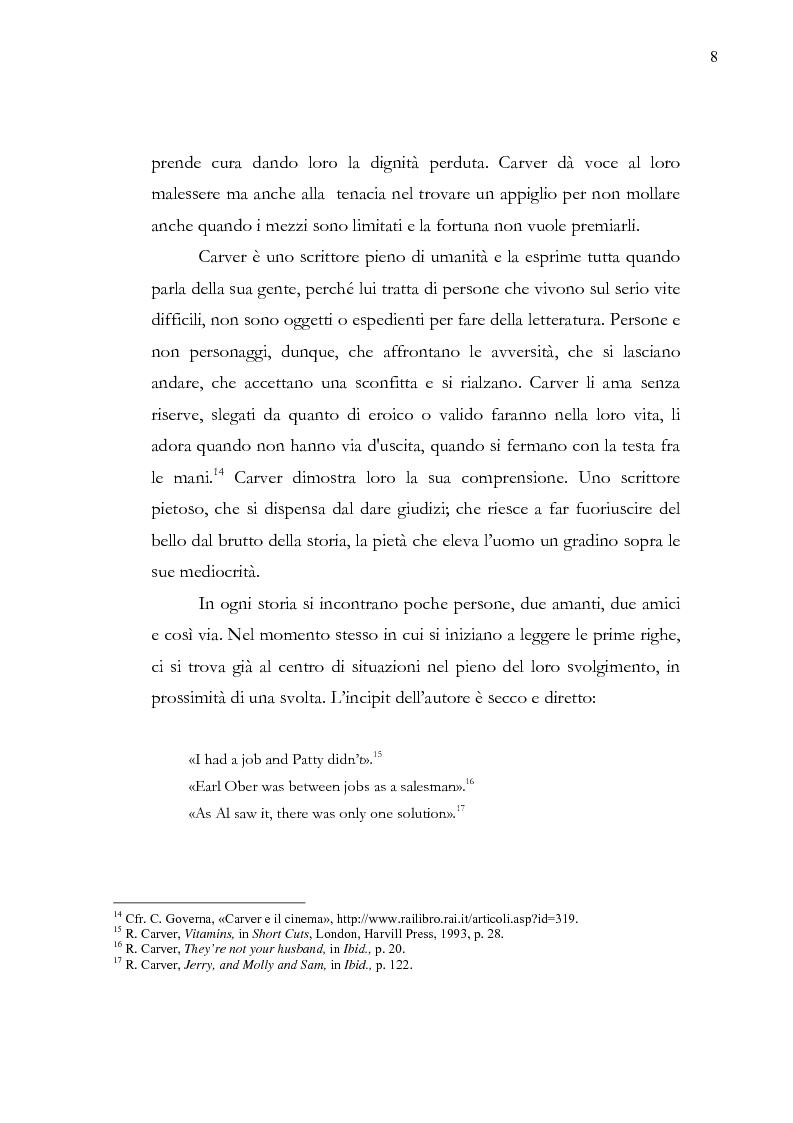 Anteprima della tesi: Dalle parole alle immagini: Robert Altman interpreta Raymond Carver, Pagina 8