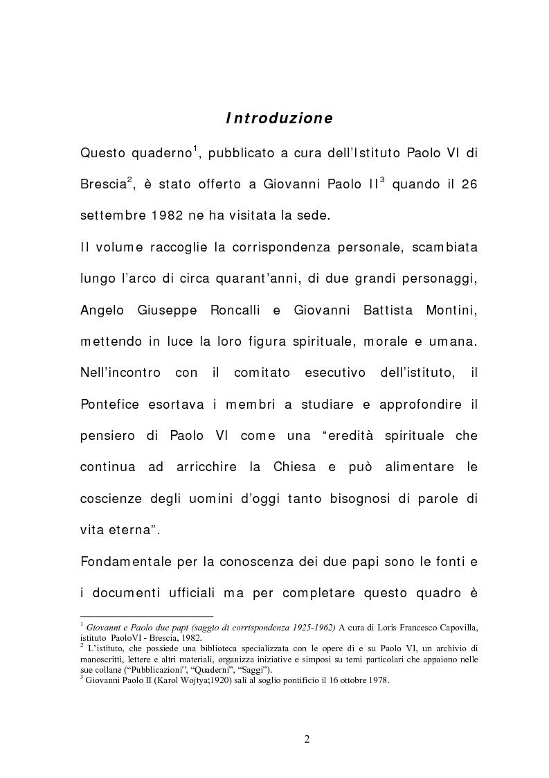 Anteprima della tesi: La corrispondenza tra Roncalli e Montini (1925-1962), Pagina 1
