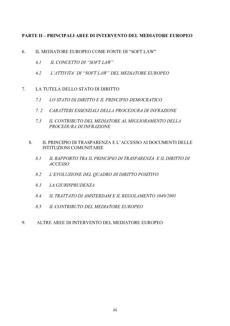 Indice della tesi: Il Mediatore Europeo, Pagina 3