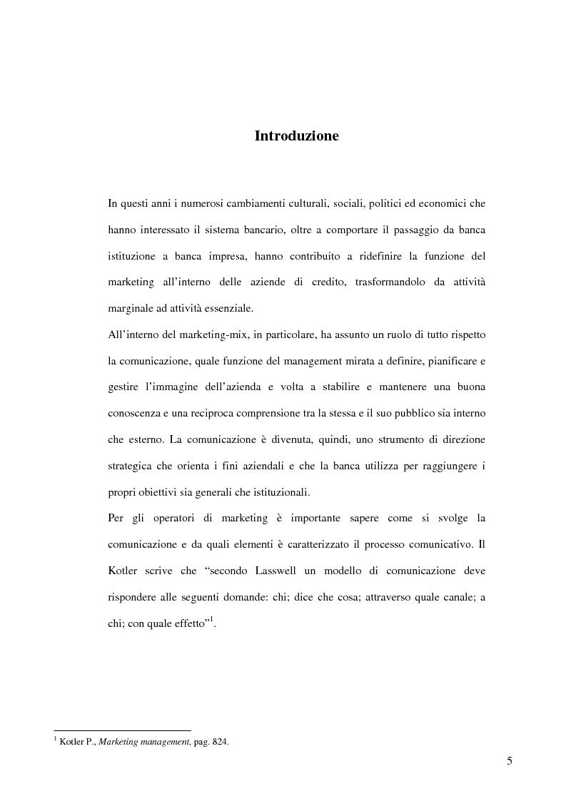 Anteprima della tesi: La banca e la comunicazione pubblicitaria. Caso aziendale: Monte dei Paschi di Siena S.p.a., Pagina 1