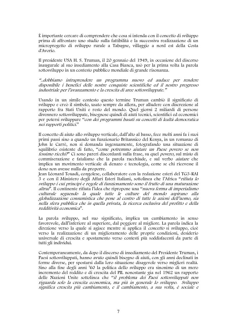 Anteprima della tesi: Studio di realizzazione e fattibilità di un microprogetto di sviluppo agricolo. Il caso di Tabagne, Costa d'Avorio, Pagina 1