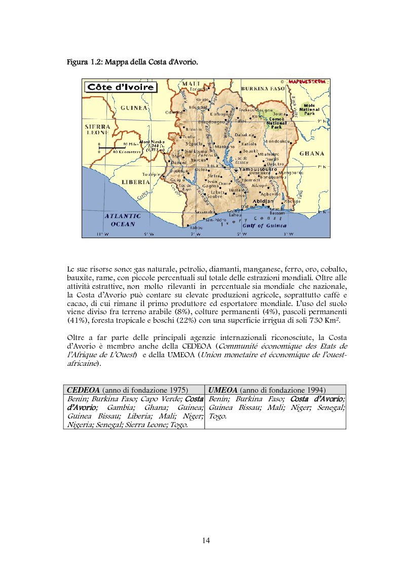 Anteprima della tesi: Studio di realizzazione e fattibilità di un microprogetto di sviluppo agricolo. Il caso di Tabagne, Costa d'Avorio, Pagina 6