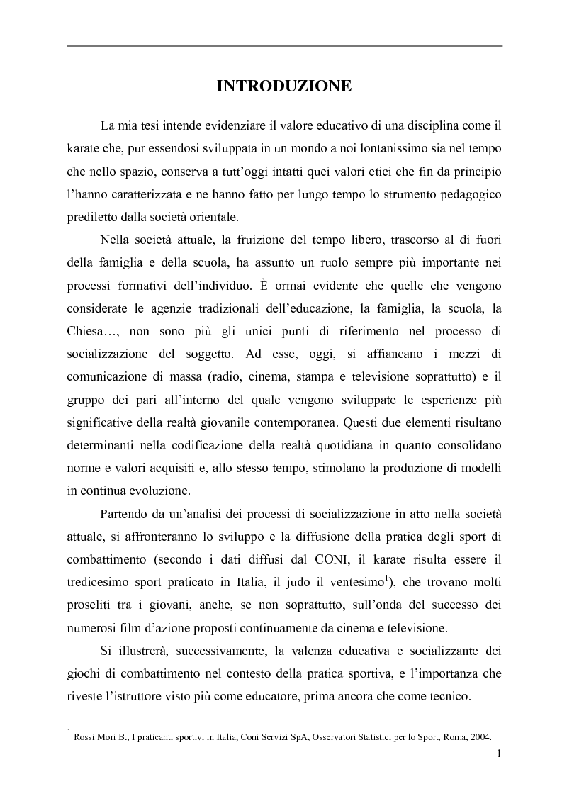 Anteprima della tesi: Il Karate: aspetti sociali, educativi e culturali, Pagina 1