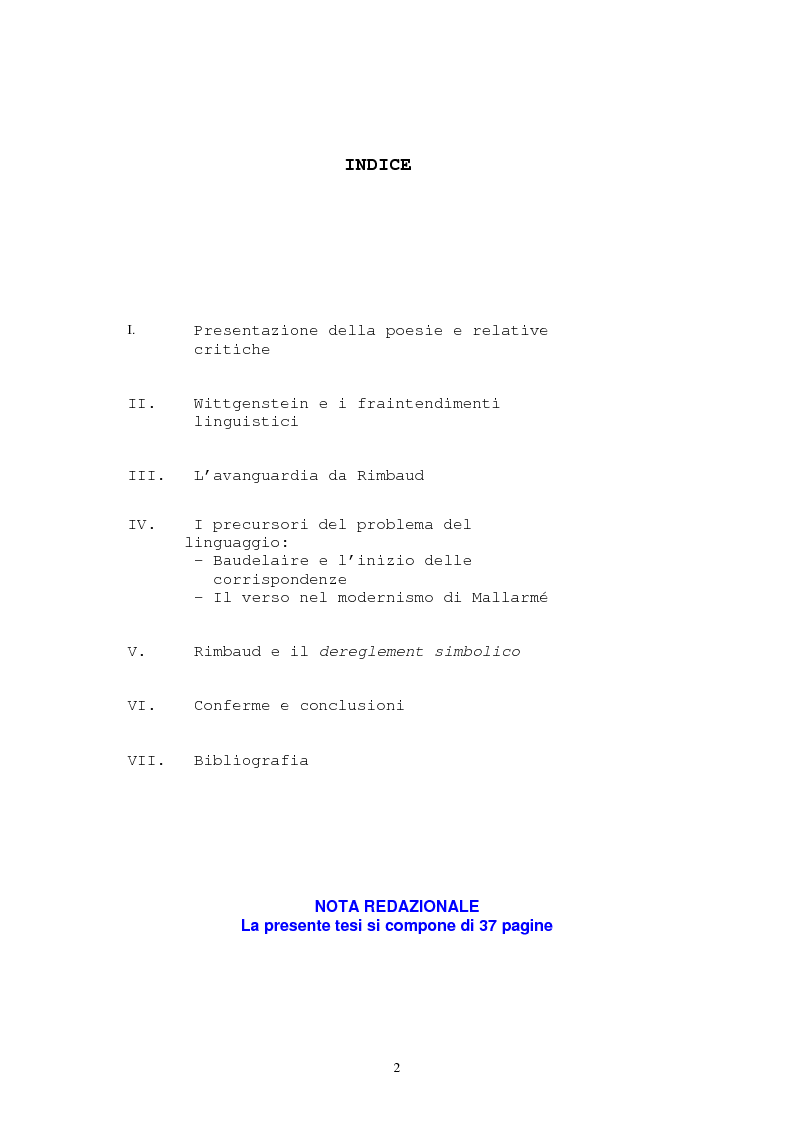 """Indice della tesi: Il """"dereglement"""" della simbolizzazione: interpretazione analitica della poesia Le Vocali di Rimbaud, Pagina 1"""