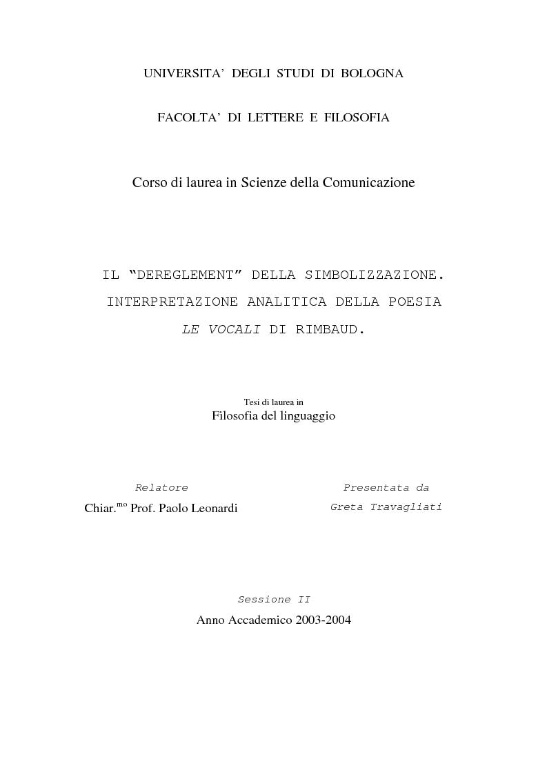 """Anteprima della tesi: Il """"dereglement"""" della simbolizzazione: interpretazione analitica della poesia Le Vocali di Rimbaud, Pagina 1"""
