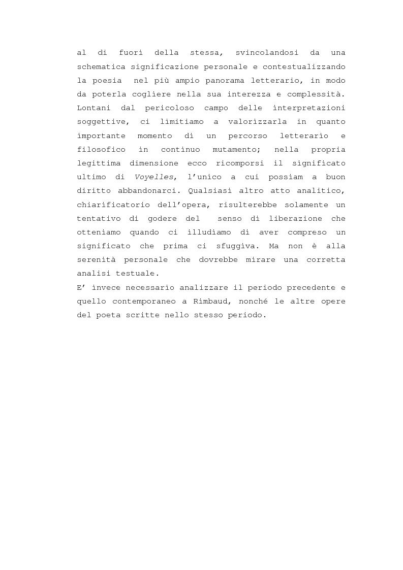 """Anteprima della tesi: Il """"dereglement"""" della simbolizzazione: interpretazione analitica della poesia Le Vocali di Rimbaud, Pagina 10"""
