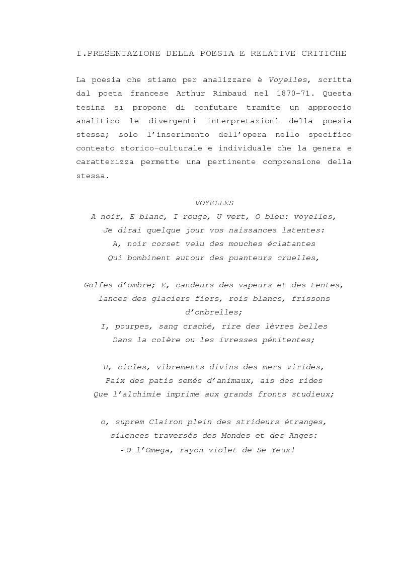 """Anteprima della tesi: Il """"dereglement"""" della simbolizzazione: interpretazione analitica della poesia Le Vocali di Rimbaud, Pagina 2"""
