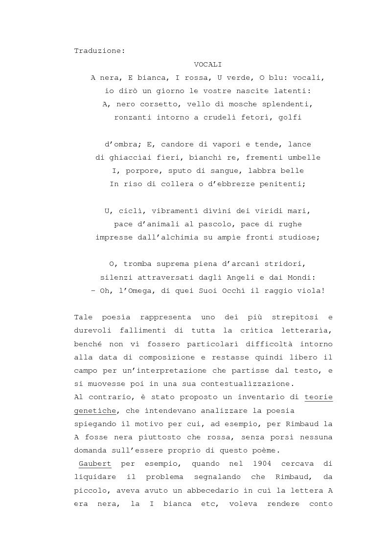 """Anteprima della tesi: Il """"dereglement"""" della simbolizzazione: interpretazione analitica della poesia Le Vocali di Rimbaud, Pagina 3"""
