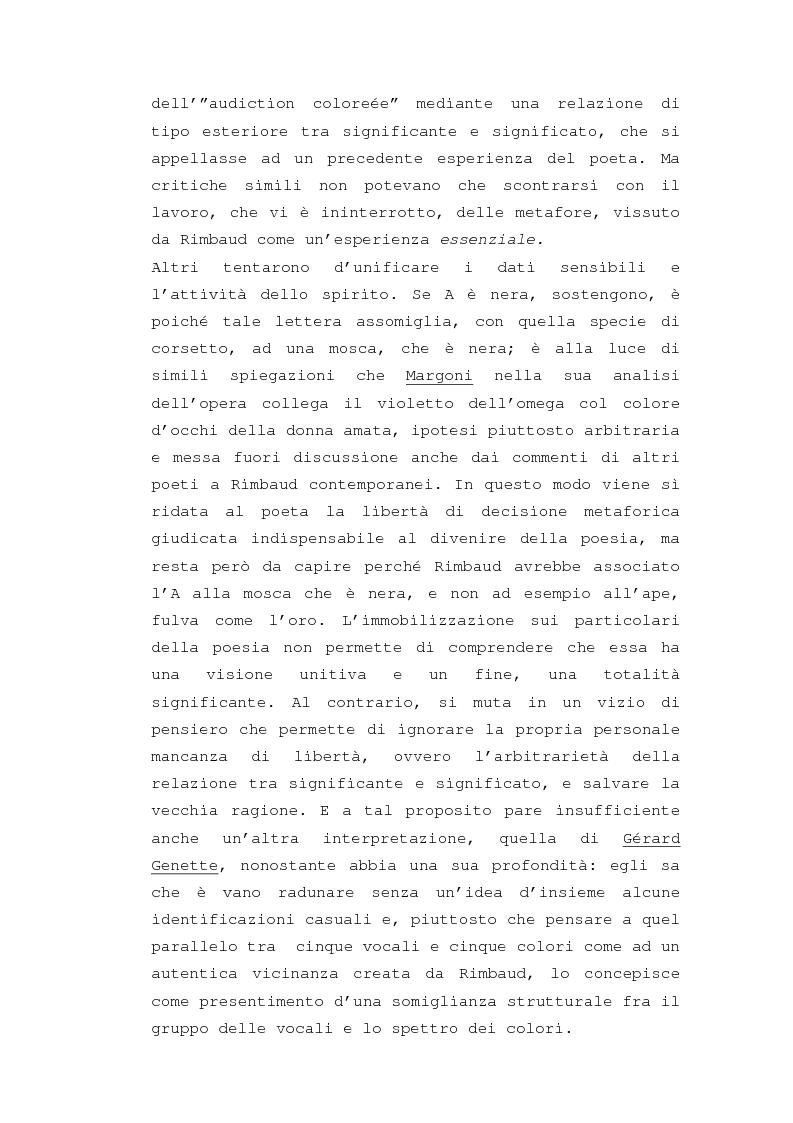 """Anteprima della tesi: Il """"dereglement"""" della simbolizzazione: interpretazione analitica della poesia Le Vocali di Rimbaud, Pagina 4"""