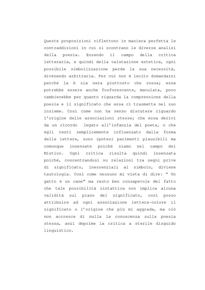"""Anteprima della tesi: Il """"dereglement"""" della simbolizzazione: interpretazione analitica della poesia Le Vocali di Rimbaud, Pagina 8"""