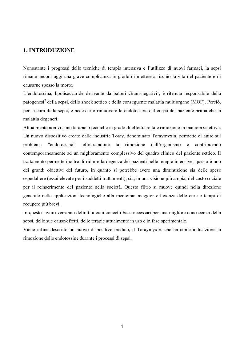 Anteprima della tesi: Il toraymyxin, metodo innovativo per il trattamento della sepsi, Pagina 1