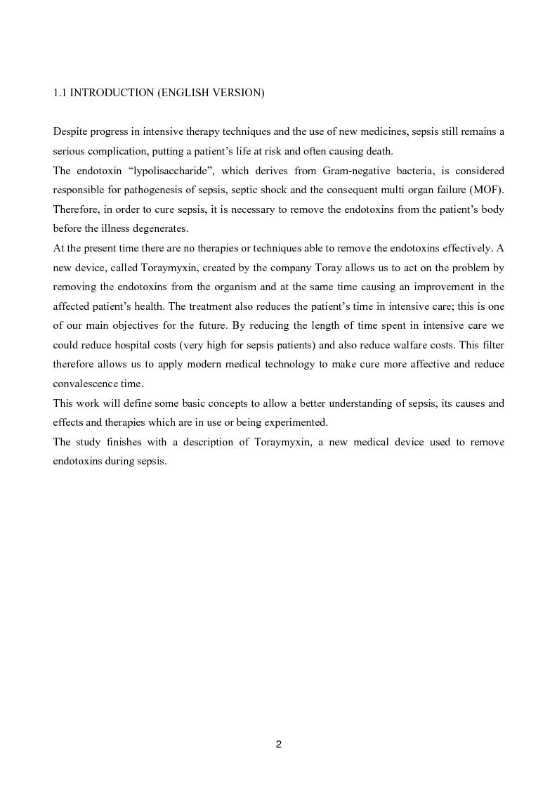 Anteprima della tesi: Il toraymyxin, metodo innovativo per il trattamento della sepsi, Pagina 2