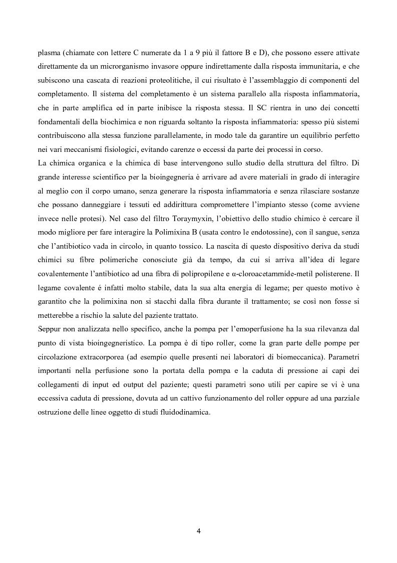 Anteprima della tesi: Il toraymyxin, metodo innovativo per il trattamento della sepsi, Pagina 4