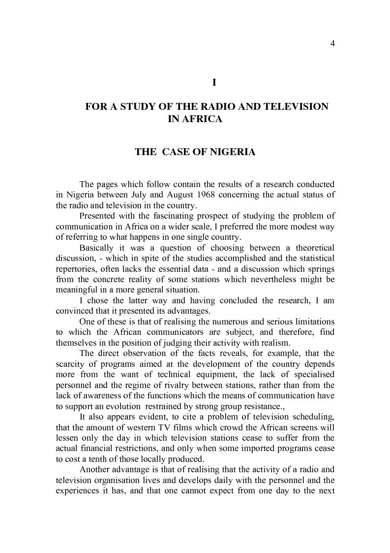 Anteprima della tesi: Toward a Study of Radio and Television in Africa. The Case of Nigeria, Pagina 2