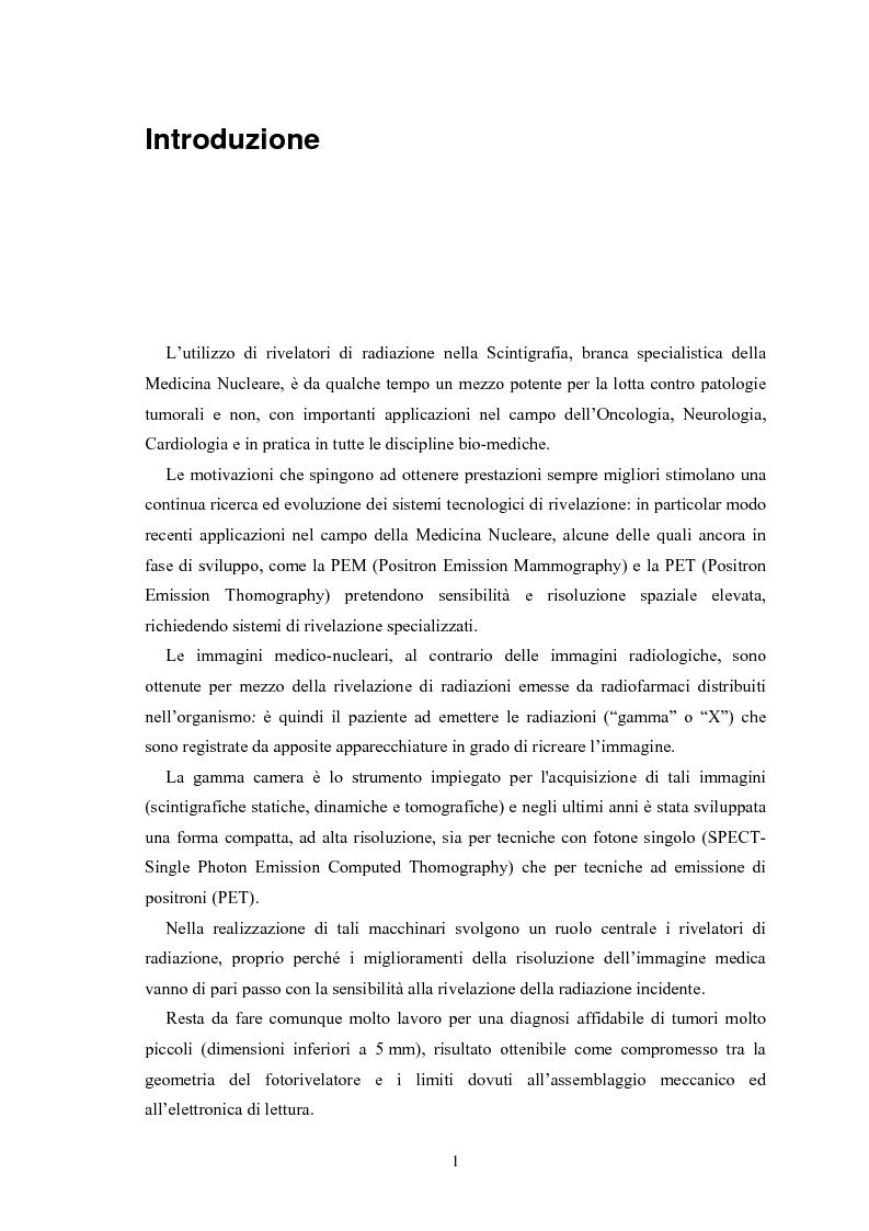 Anteprima della tesi: Studio di rivelatori a conteggio di fotoni per applicazioni medicali, Pagina 1