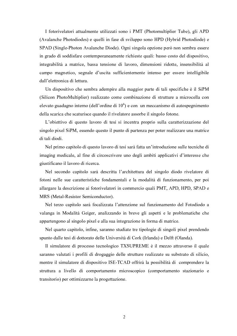 Anteprima della tesi: Studio di rivelatori a conteggio di fotoni per applicazioni medicali, Pagina 2