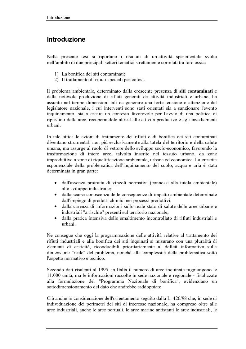 Anteprima della tesi: Bonifica di siti contaminati e trattamento di rifiuti speciali, Pagina 2