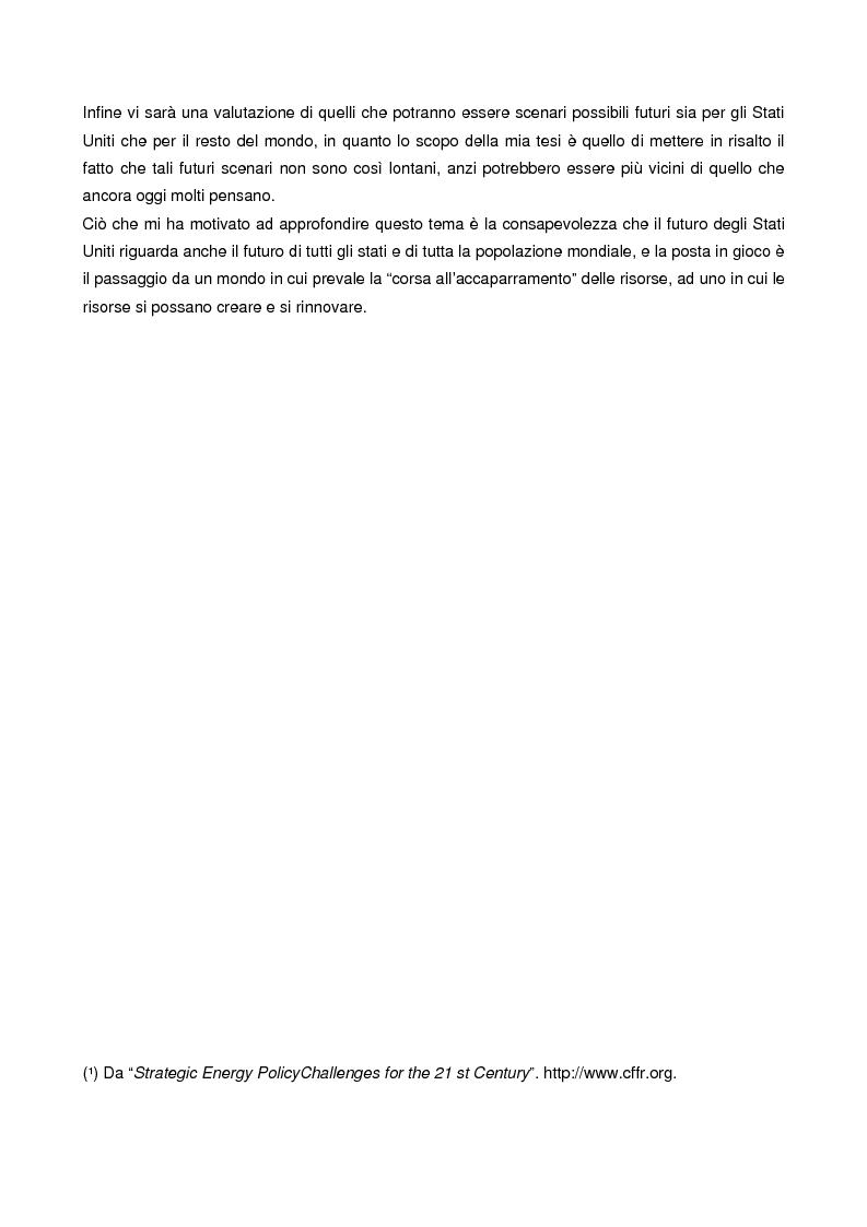 Anteprima della tesi: Le strategie energetiche degli U.S.A.: risorse, innovazioni tecnologiche e prospettive future, Pagina 2