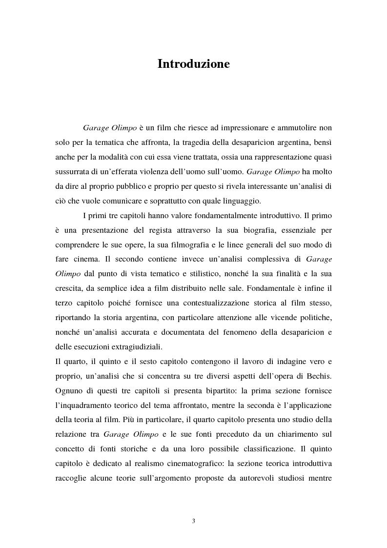Anteprima della tesi: Realismo cinematografico e documentazione storica. Un caso esemplare: Garage Olimpo, Pagina 1
