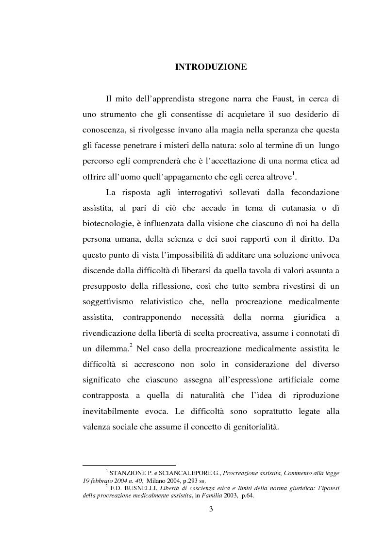 Anteprima della tesi: Adozione e fecondazione artificiale: presupposti e conseguenze del rapporto di filiazione, Pagina 1