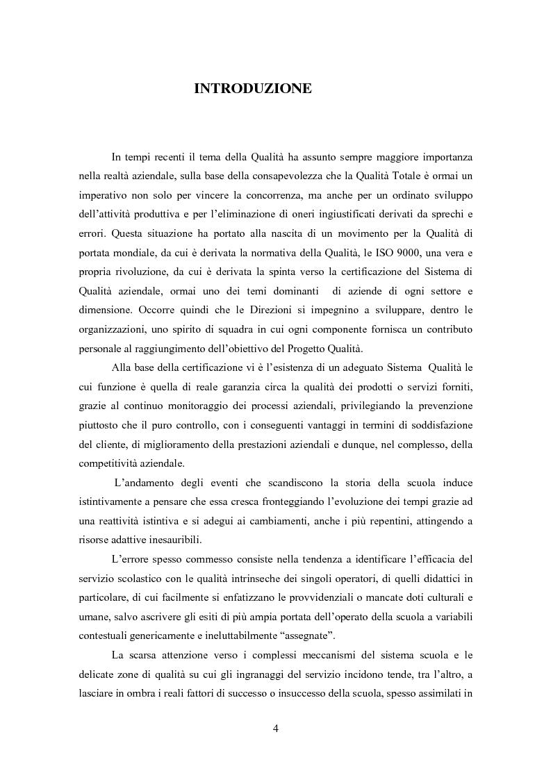 Anteprima della tesi: Gestione della Qualità in ambito scolastico, Pagina 1