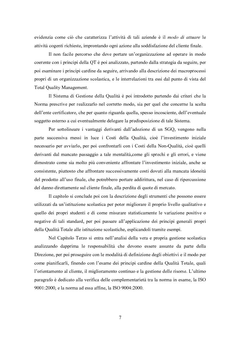 Anteprima della tesi: Gestione della Qualità in ambito scolastico, Pagina 4