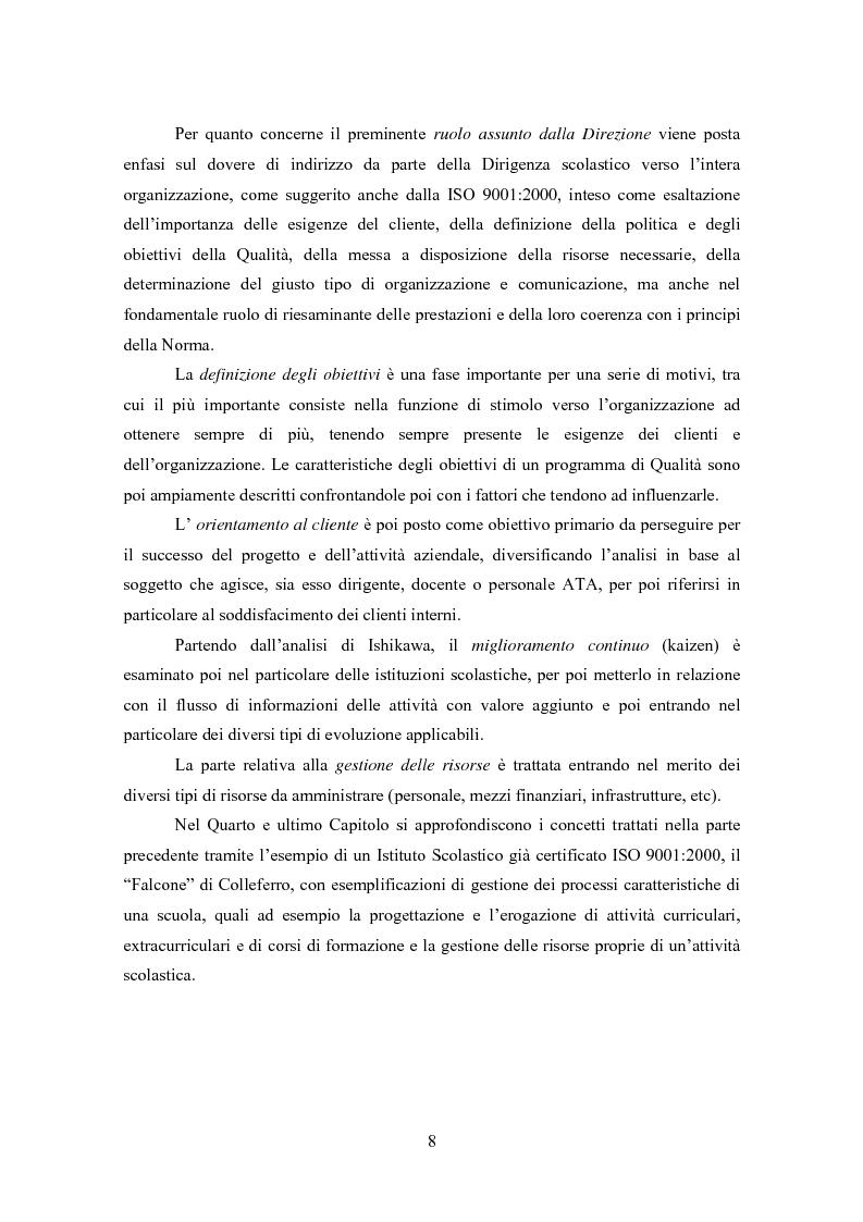 Anteprima della tesi: Gestione della Qualità in ambito scolastico, Pagina 5