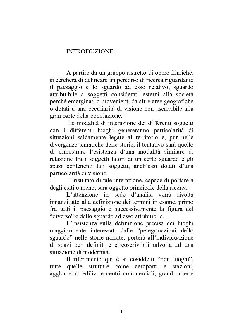 Anteprima della tesi: Il paesaggio diverso nel cinema italiano degli anni novanta. Prospettive, regionalismi e differenti visioni, Pagina 1